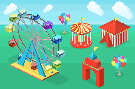 Isometric flat 3D isolated concept vector city banners with carousels. amusement park Illustration