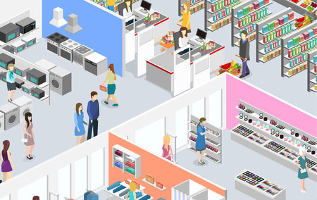 isometric interior shopping mall, grocery, computer, household, equipment store. Ilustração