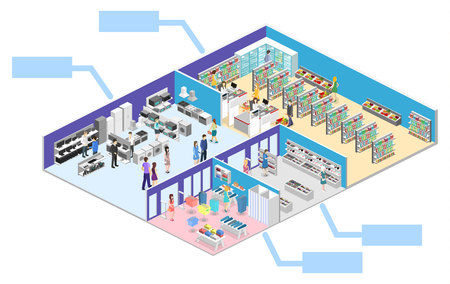 mujer en el supermercado: isometric interior shopping mall, grocery, computer, household, equipment store. Vectores