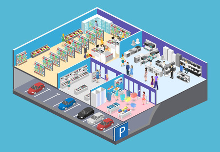 isometric interior shopping mall, grocery, computer, household, equipment store. Illustration