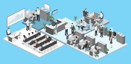 Isometrische conferentiezaal, kantoren, werkplekken, directeur van het kantoorinterieur