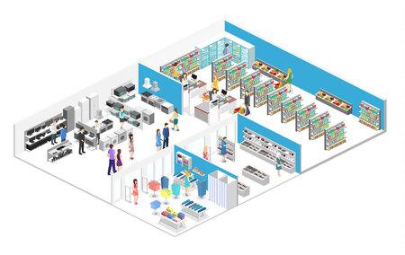 centro commerciale interno isometrico, drogheria, computer, famiglia, negozio di attrezzature. Illustrazione vettoriale piatto 3d.