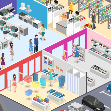 mujer en el supermercado: isometric interior shopping mall, grocery, computer, household, equipment store. Flat 3d vector illustration.