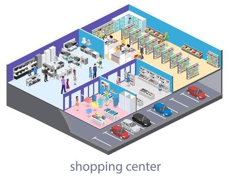 Centro comercial isométrico del interior, ultramarinos, computadora, hogar, tienda del equipo. Ilustración vectorial de 3d plana. Foto de archivo - 83574839