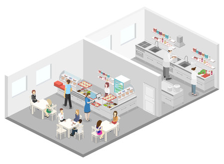 Isometric flat 3D concept vector interior of cafe, canteen and restaurant kitchen. People sit at the table and eating. Flat 3D illustration
