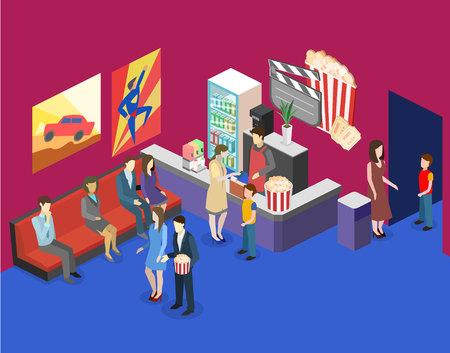 Isometric flat 3D concept vector interior of cinema waiting hall. cinema cafe