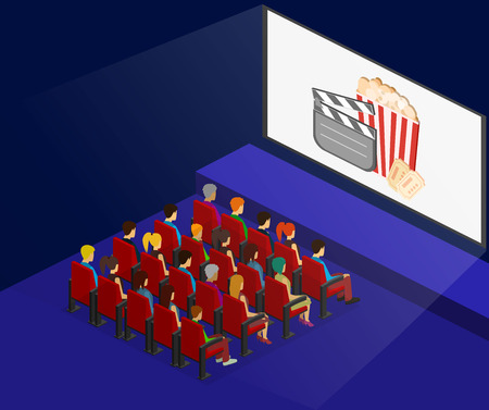 Isometric flat 3D concept vector interior of cinema hall. people watching a movie Stock Illustratie