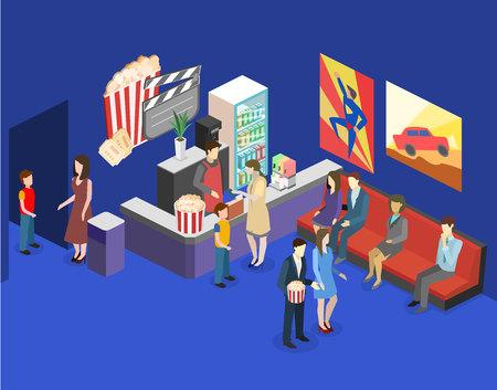 Isometric flat 3D concept interior of cinema waiting hall. cinema cafe