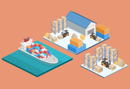 倉庫の等尺性のインテリア。ボックスは、棚にあります。平らな 3 d イラスト。川貨物船が水の上の旅します。