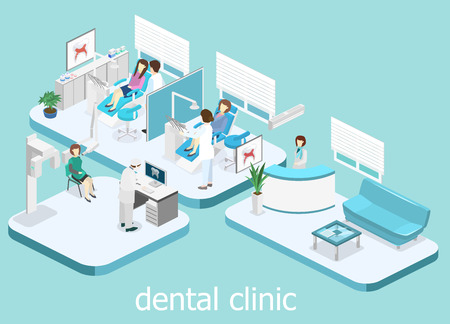 Isometric 3D isolated concept vector cutaway interior of a Dentistry waiting room. Dental Clinic. flat interior of dentists office, Oral Radiology
