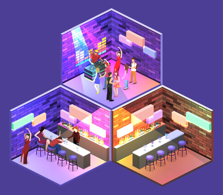 Isometric flat 3D isolated concept vector cutaway Bar in the nightclub. Bar counter with stools before it, and alcohol cocktails and bottles on the shelves. A drunk man is sleeping. People are dancing Illustration