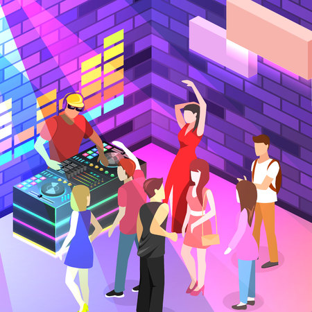 Isometric flat 3D isolated concept vector cutaway Bar in the nightclub.. People are dancing Illustration