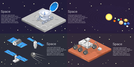 car isolated: Isometric flat 3D isolated concept of a lunar  car on the surface of the moon, solar system, planets, satellites
