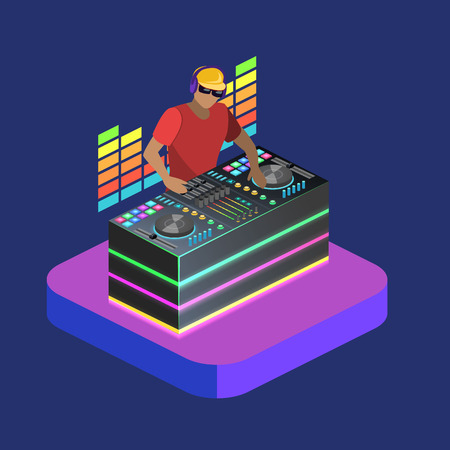 audio mixer: Isometric flat 3D isolated concept vector cutaway DJ playing vinyl. DJ Interface workspace mixer console turntables. Night club concept.