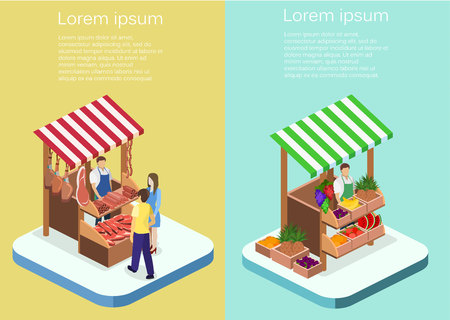 Isometric flat 3D isolated concept vector Butcher shop. The pieces of meat are sold on the show-window