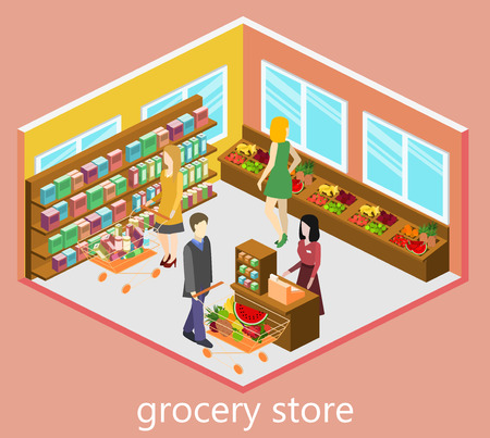 Isometric interior of grocery store vector illustration.
