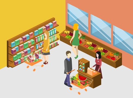 Isometric interior of grocery store. Shopping mall flat 3d isometric concept web vector illustration. 向量圖像