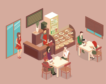 Isometrische interieur van coffeeshop. platte 3D isometrische ontwerp interieur café of restaurant. Mensen zitten aan tafels en eten. Conceptenillustratie van de ruimte.