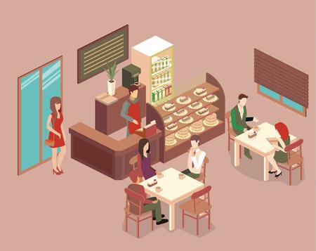 Izometryczne wnętrze kawiarni. Płaska izometryczna konstrukcja wnętrza kawiarni lub restauracji. Ludzie siedzą przy stolikach i jedzą. Koncepcja ilustracji pokoju.