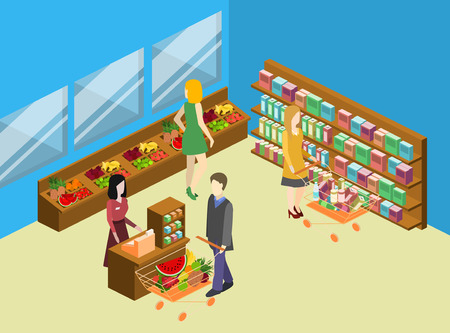 grocery shelves: Isometric interior of grocery store. Shopping mall flat 3d isometric concept web vector illustration. Illustration
