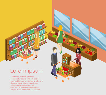 Isometric interior of grocery store. Shopping mall flat 3d isometric concept web vector illustration. Stock Illustratie
