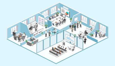 Isometrische platte 3d abstracte kantoor vloer interieur afdelingen concept vector. conferentiezaal, kantoren, werkplekken, directeur van het kantoorinterieur