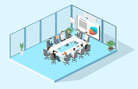 Reunião de negócios em um escritório Reunião de apresentação de negócios em um escritório em torno de uma mesa. Interior isométrico 3D plano Ilustración de vector