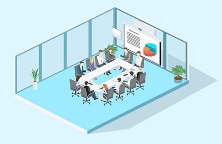 Spotkanie biznesowe w biurze Spotkania biznesowe prezentacji w biurze wokół stołu. Izometryczne płaskie wnętrze 3D Ilustracje wektorowe