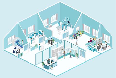 병원 공간, 약국, 의사의 사무실, 대기실, 수신, mri, 운영의 아이소 메트릭 플랫 내부. 환자를 치료하는 의사. 플랫 3D 벡터 일러스트 레이션