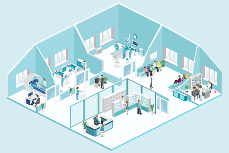 Isometric flat interior of hospital room, pharmacy, doctors office, waiting room, reception, mri, operating. Doctors treating the patient. Flat 3D vector illustration Çizim