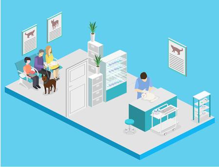 Isometric interior of veterinary clinic. The veterinarian treats the pet Ilustração