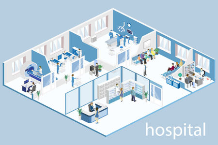 Isometric flat interior of hospital room, pharmacy, doctor's office.