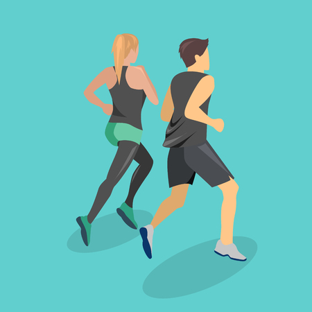 Isometric flat 3D isolated concept people running on the road. A girl and a guy are running a jog