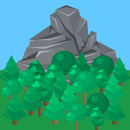 Isometric landscape for camping. 3D infographic illustration