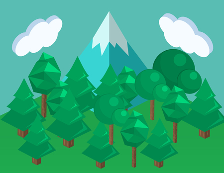 Isometric landscape for camping, 3D infographic illustration. Vectores