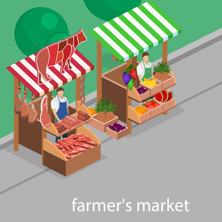 Isometric flat 3D isolated concept vector Butcher shop and fruit stand. The pieces of meat are sold on the show-window. Vectores