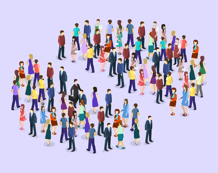 Isometric flat 3D isolated concept vector Infographic chart consisting of a crowd of people.