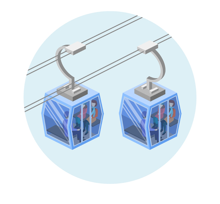 Isometric flat 3D isolated concept vector of cable cars