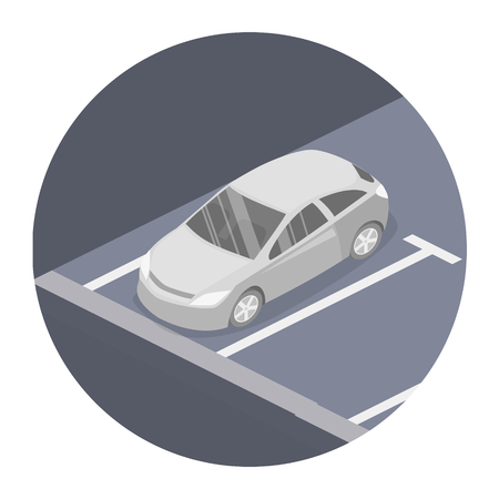 Isometric flat 3D concept vector car. Urban transport. Parking space.