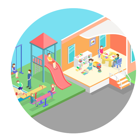 Isometric flat 3D concept web vector of kids in the playground