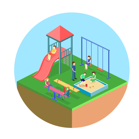 Isometric flat 3D concept web vector of a playground Vectores