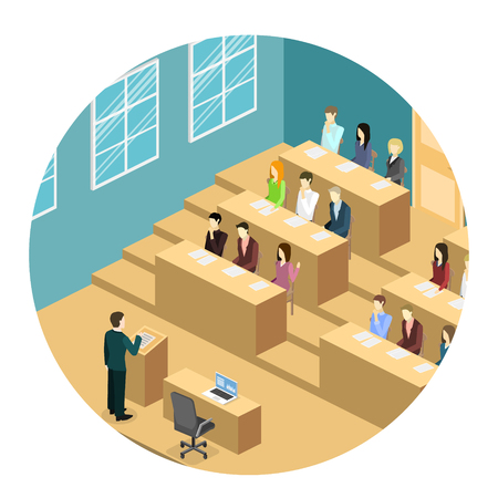 Isometric flat 3D concept vector interior university auditorium. Students sitting at desks and listening to the teacher. Education training. Vectores