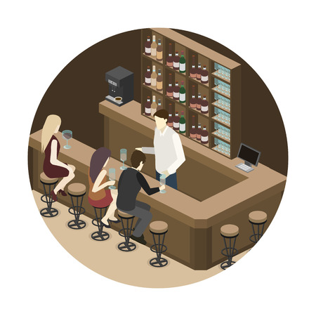 Isometric 3D flat interior of bar or pub. The chairs stand around the bar. Alcoholic drinks on the shelves.