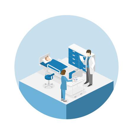 Isometric flat interior of hospital room. Doctors treating the patient. Flat 3D illustration  イラスト・ベクター素材