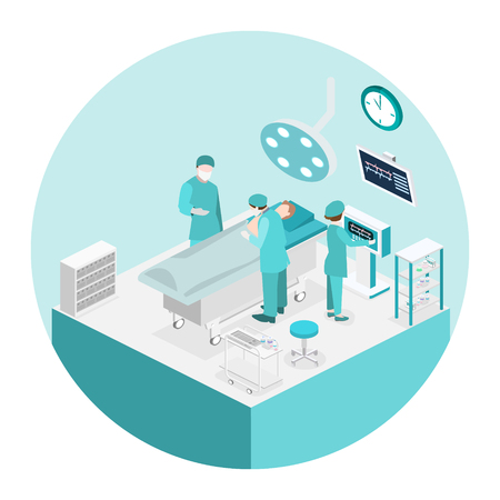 Isometric flat 3D concept vector interior of Surgery Department. Hospital Plastic Surgery Operating Theater Medical Doctor Surgeon and Patient Surgery Infographic. Vectores