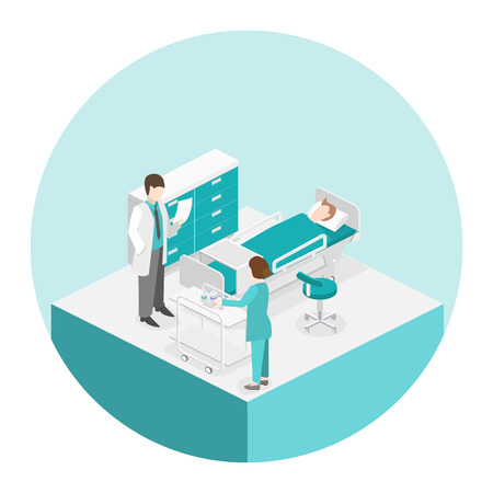 Isometric flat interior of hospital room. Doctors treating the patient. Flat 3D illustration Vectores