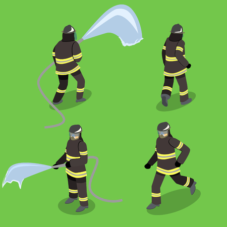 Isometric flat 3D isolated concept vector cutaway Firefighters in action. Vectores