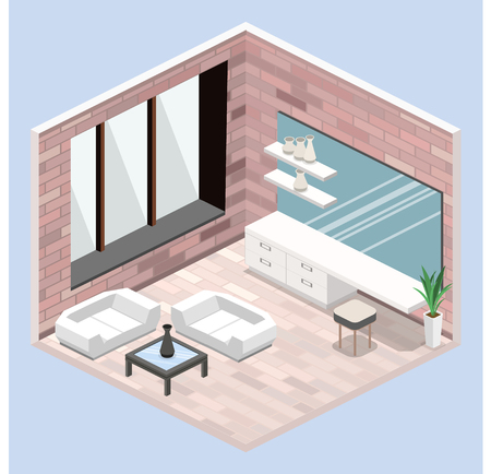 modern bedroom design in isometric style. Flat 3D illustration Vectores