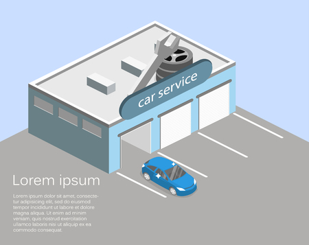 Isometric flat 3D isolated concept Car service building or car repair