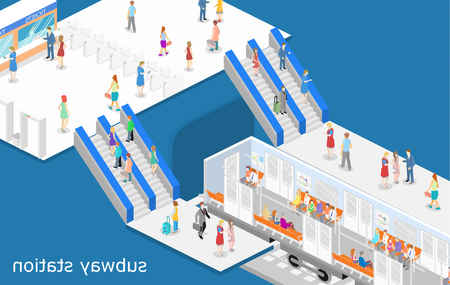 Isometric flat 3D concept vector interior of metro subway train carriage. underground station Stock Illustratie
